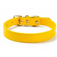 Dog Collar Faux Leather Pet Puppy Cat Neck Strap Adjustable Buckle Solid Color