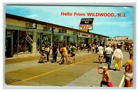 Hello from Wildwood NJ Shops and Arcade Boardwalk c1977 Chrome Postcard J25