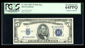 DBR $5 1934-C Silver Fr. 1653W MA Block Wide Face PCGS 64 PPQ Serial M77464459A