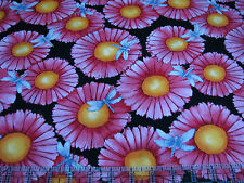 3 Yards Cotton Fabric - Henry Glass Morning Mist Large Daisies Dragonflies Pink