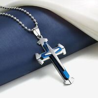 New Unisex's Men Blue Silver Stainless Steel Cross Pendant Necklace Chain Gift