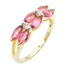 SOLID YELLOW GOLD 14K Natural Marquise Pink Tourmaline Diamonds New Ring Size 7