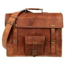 """New 15"""" Vintage Briefcase Satchel Goat Leather Laptop Messenger Bag Shoulder"""