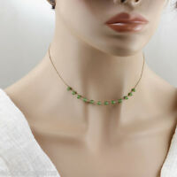 DESIGNER JADE BY THE YARD STATIONARY CHOKER NECKLACE 14K YELLOW GOLD 15 INCHES