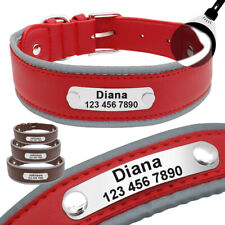 4cm Wide Personalised Leather Dog Collars Tags Reflective for Medium Large Dogs