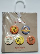 Disney X Junk Food Mickey Mouse Pins Buttons Pack 90th Anniversary Set of 5 New