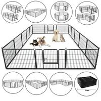 "24"" Heavy Duty Metal Dog Cat Exercise Fence Playpen Kennel 16 Panel Safe For Pet"