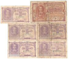 More details for 6x 1915 issue belgium german occupation wwi 1 & 2 francs banknotes 1916 1917
