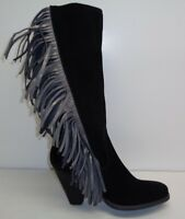 Reba Size 6 COWGIRLY Black Suede Fringe Mid Calf Heels Boots New Womens Shoes