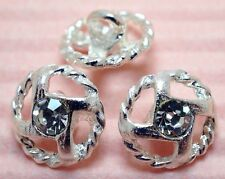 15 Sparkling 11mm Clear Crystal/Rhinestone Silver Round Metal Shank Buttons N152