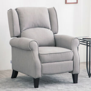 Orthopedic High Back Recliner Armchair Fabric Queen Anne Tub Lounge Cinemo Chair