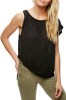Free People Womens Pluto OB587937 Top Relaxed Black Size XS