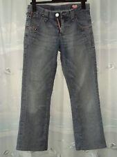 MOSES Damen Jeans Gr 28/33 Blau Reißverschluss Logoknöpfe Schleifen Gerades Bein
