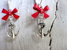 Seemannsbraut - Ohrringe mit Brisur maritim Segler und Schleife rot silber