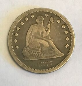 1877 S Seated Liberty Quarter, Silver