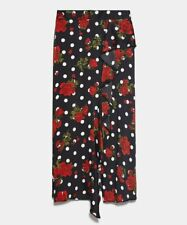 ZARA WOMAN NWT SALE! RED/ BLACK PRINTED SKIRT WITH RUFFLE TRIMS 0097/230/065