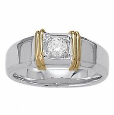 0.35 CT FOREVER ONE MOISSANITE FOUR PRONG TWO TONE MEN'S SOLITAIRE RING