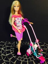 Barbie Strollin' Pups Playset & Doll (2 Pups, 2 Dogbones with Magnet, 1 Bag)