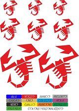 kit 8 adesivi abarth corse colori a scelta stickers scorpione COD136