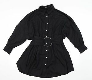 Pretty Little Thing Womens Black   Shirt Dress  Size 8