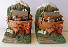 """Vintage NOAH'S ARK BOOKENDS Set, Detailed Animals, 6"""" tall, Resin, Padded Bottom"""