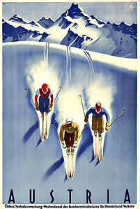 Art Ad Austria Ski Skiing Travel  Deco Poster Print