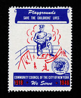 POSTER STAMP ⭐ PLAYGROUNDS SAVE CHILDRENS LIVES ⭐ 1946 MNG