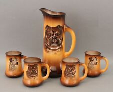 Antique Taylor Smith German Bull Jack Russell Terrier Dog Porcelain Pitcher Mugs