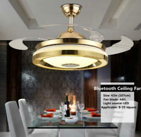 42'' Bluetooth Invisible Fan Ceiling Light LED Light Remote Control Chandelier