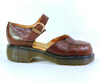 Doc Marten Mary Janes Womens US 10 UK 8 Brown Buckle Strap Made in England