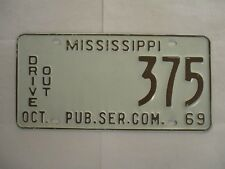 1969 Mississippi DRIVE OUT  License Plate Tag