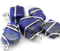 Blue Lapis Lazuli Silver Wire Wrap Pendant HANDMADE Stone Chakra Crystal Necklac