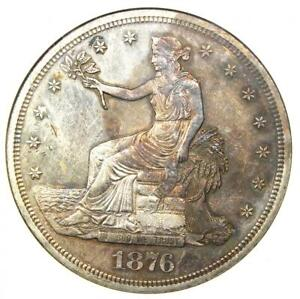 1876-S Trade Silver Dollar T$1 - Certified ANACS Uncirculated Details (Net AU50)