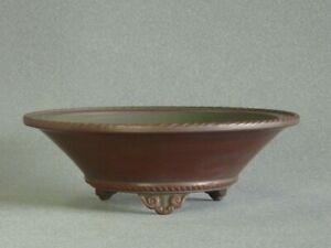 Tokoname Bonsai Pot Handmade Bigei Round Brown TOKONAME 158*53mm T754