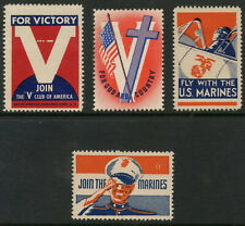 USA WW2 MARINES + VICTORY PATRIOTIC LABELS 4 ITEMS