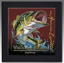American Expedition Largemouth Bass Wood-Framed Trivet -- NEW
