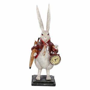 Relojes de Mesa Estatuilla De Conejo Con Reloj En Mano De Apoyo Vendimia