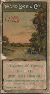 """OLD WARD LOCK ROAD MAP (3m to 1"""") - section 18 - HANTS, BERKS, OXFORD - 1920s"""