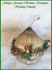 Antique German Mercury Glass & Vintage Wire Mesh Xmas Ornament with Mushrooms