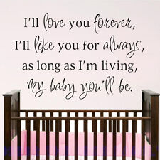 I'll Love You Forever Wall Decal Inspired Saying Vinyl Boy Girl Baby Room Decor