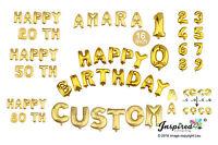 Happy Birthday Personalised Age Custom 16 inch gold foil balloons banner Mylar