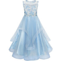 Flower Girls Dress Embroidered Sequin Wedding Pageant Bridesmaid Age 7-14 Years