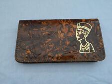 Egyptian Leather Women Lady Brown Clutch Wallet Purse Card Holder Nefertiti 333