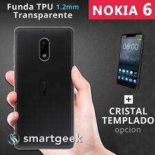 FUNDA TPU Gel TRANSPARENTE para NOKIA 6 nokia6 + CRISTAL TEMPLADO case glass