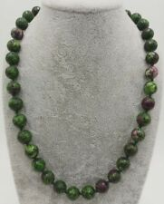 10mm Natural Green Ruby Gemstone Faceted Round Beads Necklace 18''