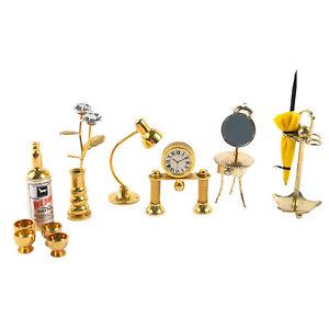 Miniature Brass Desk Lamp Clock Umbrella Stand Dresser Whisky Glasses Vase Roses