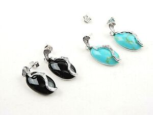 Sterling Silver Black Onyx or Turquoise Oval Earrings - Free Gift Packaging