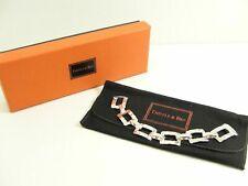 NEU Thistle & Bee Hammered Rectangular Link Armband Bracelet 925 Silber NEU
