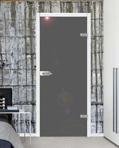 VSG Ganzglastür Drehtür Zimmer Glastür hochglanz grau 834x1972mm mit Beschlag