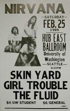 "Nirvana Concert Poster - 1989 University of Washington - Seattle 14""x22"""